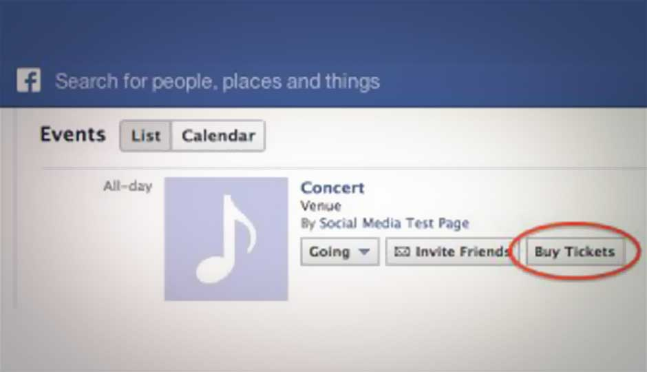 Facebook testing 'Buy Tickets' button for Events