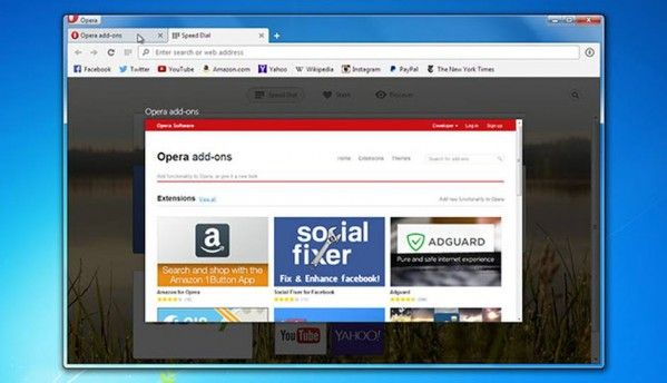 Opera desktop browser adds tab preview feature, offers over 1000 extensions