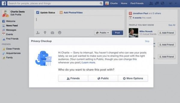 Facebook unveils a privacy check-up tool