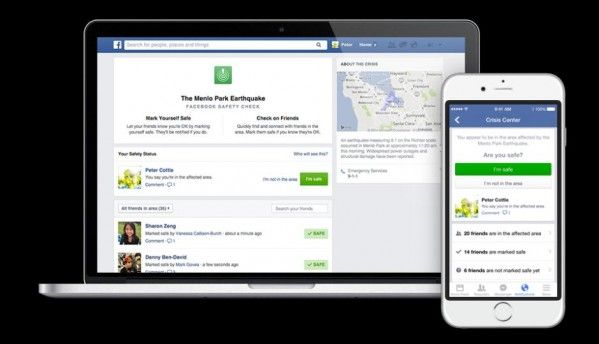 Facebook Safety Check informs friends you are safe after a major disaster