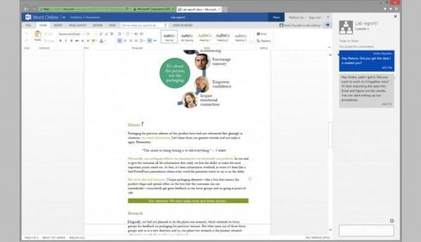 Microsoft adds Skype document chat to Office Online