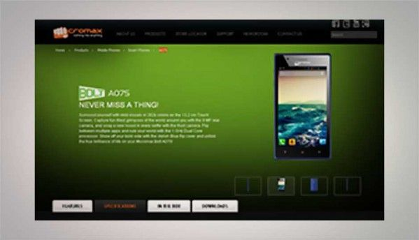 Micromax Bolt A075, 5.2-inch dual-core smartphone listed online