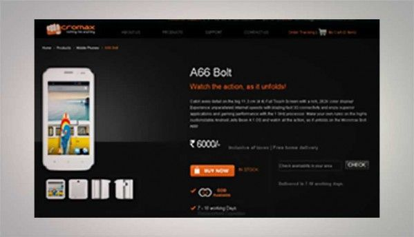 Micromax Bolt A66 dual-SIM Android smartphone available online for Rs. 6,000