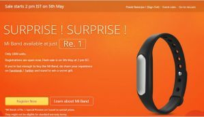 Xiaomi Mi Band up for registrations, 1000 units to be sold at Re 1