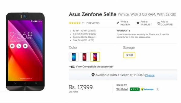 Asus Zenfone Selfie with 3GB RAM now available on Flipkart for Rs. 17,999