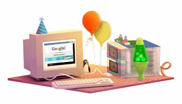 Google's nostalgic doodle rolls back the clock on its 17th birthday