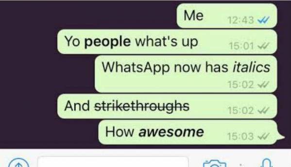 WhatsApp for iOS adds bold, italics and strikethrough formatting