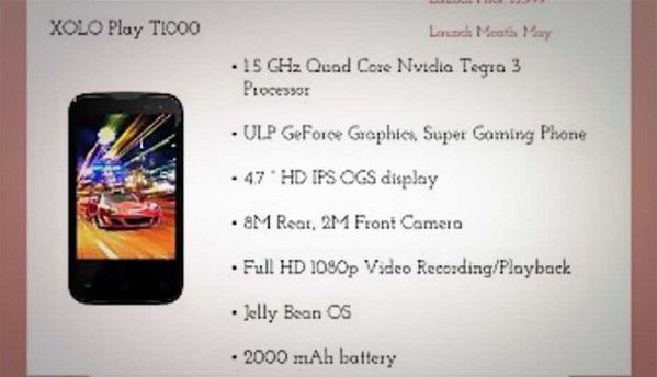 Xolo Play T1000 powered by Tegra 3 quad-core processor leaks online