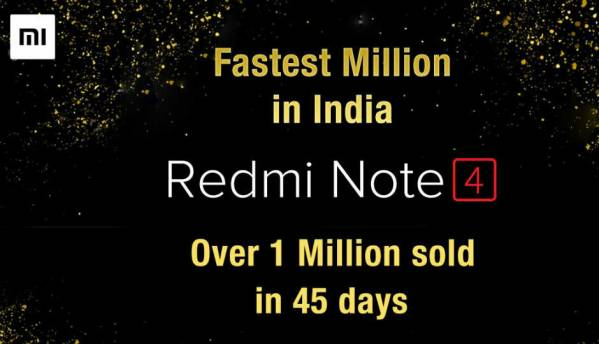 Xiaomi says it sold 1 million Redmi Note 4 smartphones in 45 days