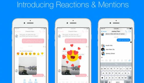 Facebook rolls out Message Reaction, Mentions to its Messenger app