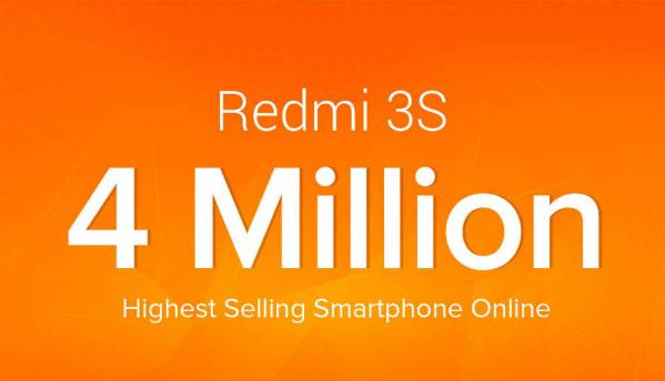 Xiaomi claims to have sold over 4 million Redmi 3S smartphones ahead of Redmi 4 launch