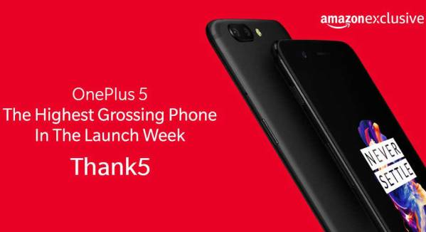 OnePlus 5 was the highest grossing smartphone during launch week on Amazon India: OnePlus