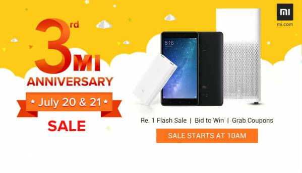 Xiaomi's 3rd Mi Anniversary Sale: Mi Max 2, Redmi 4 at Rs 1, Redmi Note 4 bid to win and other top offers to know