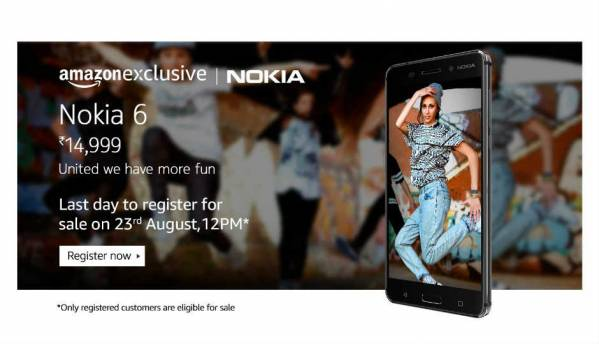 Nokia 6 Amazon India registration closes today, first sale on August 23