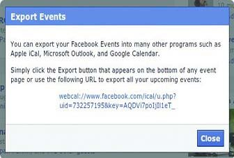 Facebook pop-up with the calendar URL
