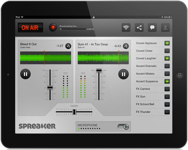 Spreaker on the iPad