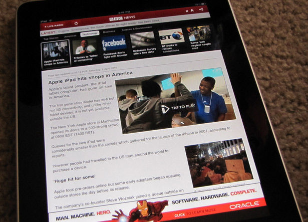 Browsing the web using the Apple iPad