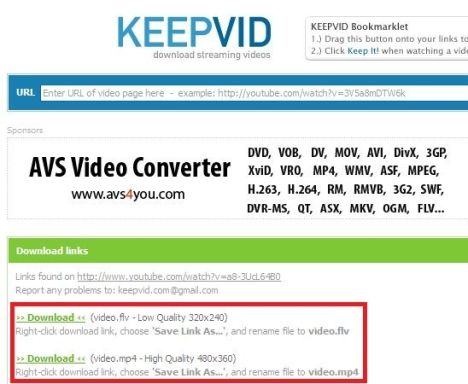 Download youtube videos using keepvid