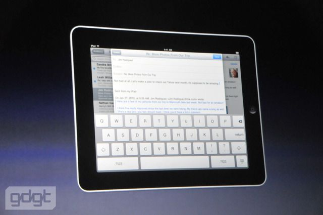 The Apple iPad has a large on-screen keyboard