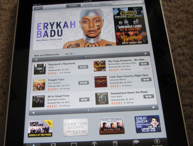 iTunes on the Apple iPad
