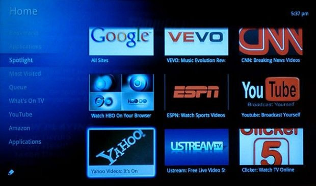 Google TV via the Logitech Revue companion box