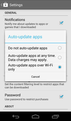 How do I force stop an application downloading from