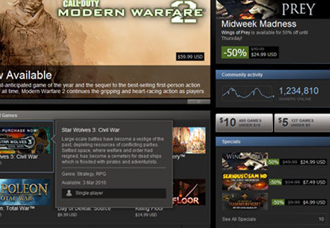 Steam store page