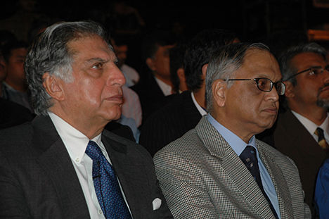 Ratan Tata and Narayan Murthy share the stage to kick off the first session of the summit