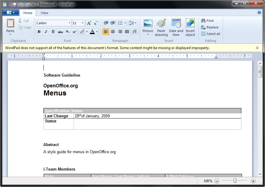 Как сделать таблицу в wordpad виндовс 8