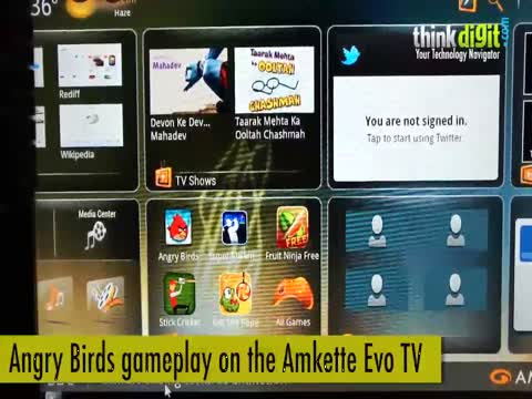 Angry Birds gameplay on the Amkette Evo TV