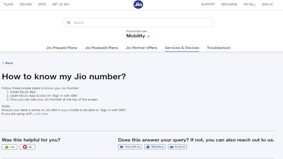 Check Jio mobile number via MyJio app