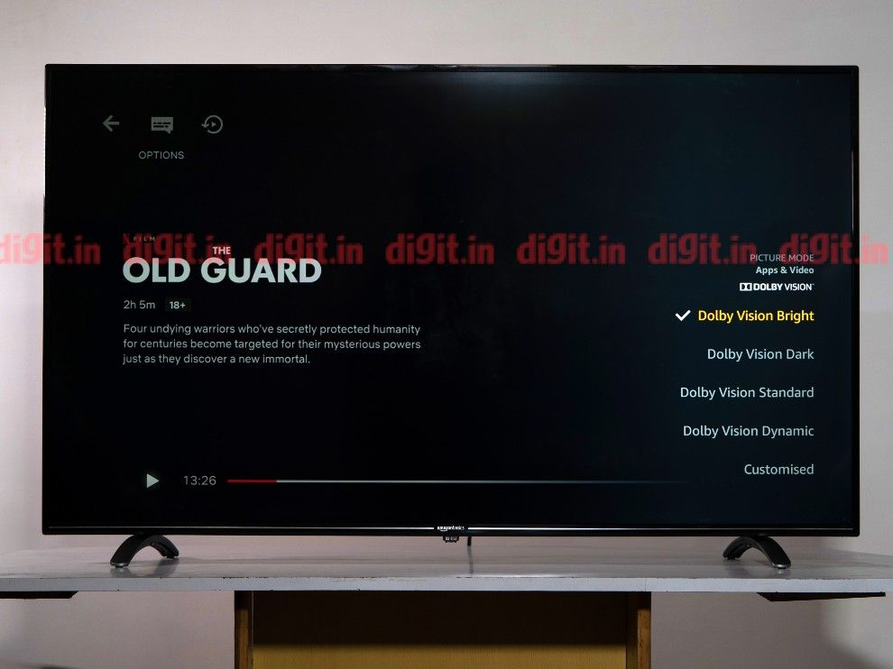 Dolby Vision settings on the AmazonBasics 55-inch TV.