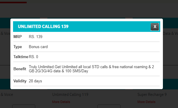 Vodafone Rs 139 recharge plan with 2GB data, unlimited calling