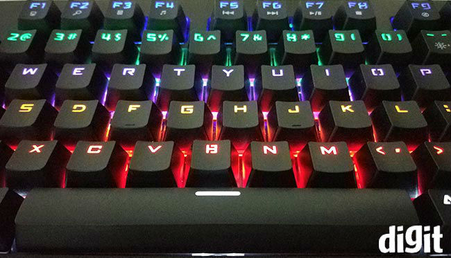 ef1cc8345e7 The mechanical switches aren't RGB but to give users an illusion of owning  an RGB keyboard, every row of keys have a different colour LED.