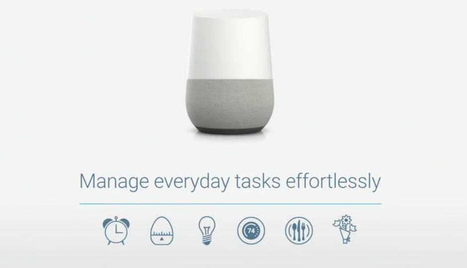 google announces voice activated smart home hub 39 google home 39 at io 2016. Black Bedroom Furniture Sets. Home Design Ideas