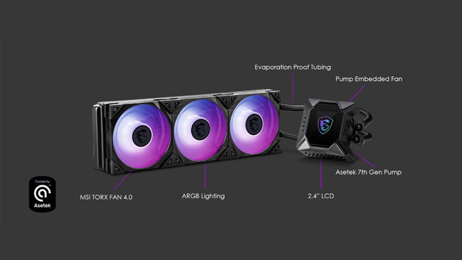 MSI MPG CORELIQUID K Series of AIO CPU Coolers Asetek 240mm 360mm
