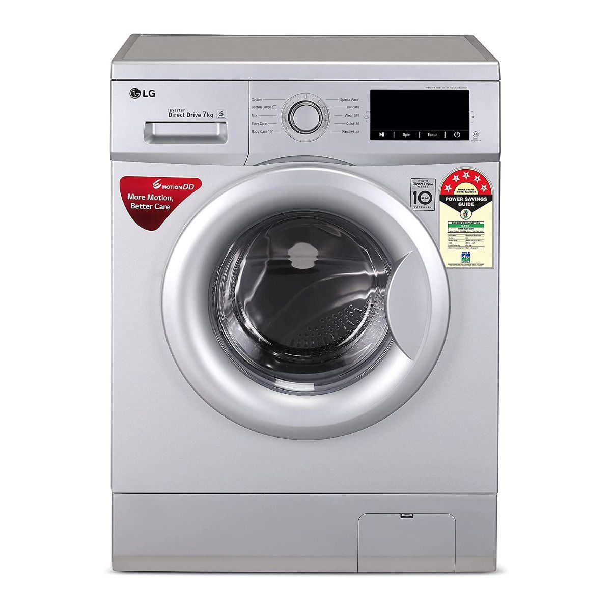 LG 7.0 Kg 5 Star Inverter Fully-Automatic Front Loading Washing Machine (FHM1207ADL)