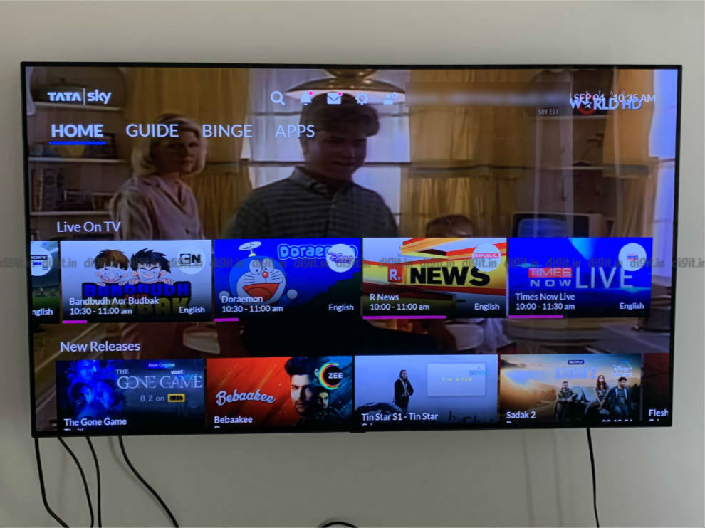 The Home UI on the Tata Sky Binge+ Box.