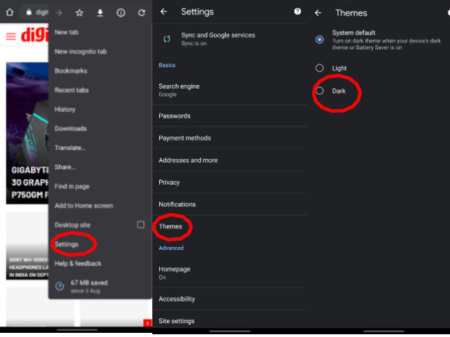 Activating dark mode for Google Chrome on Android app.