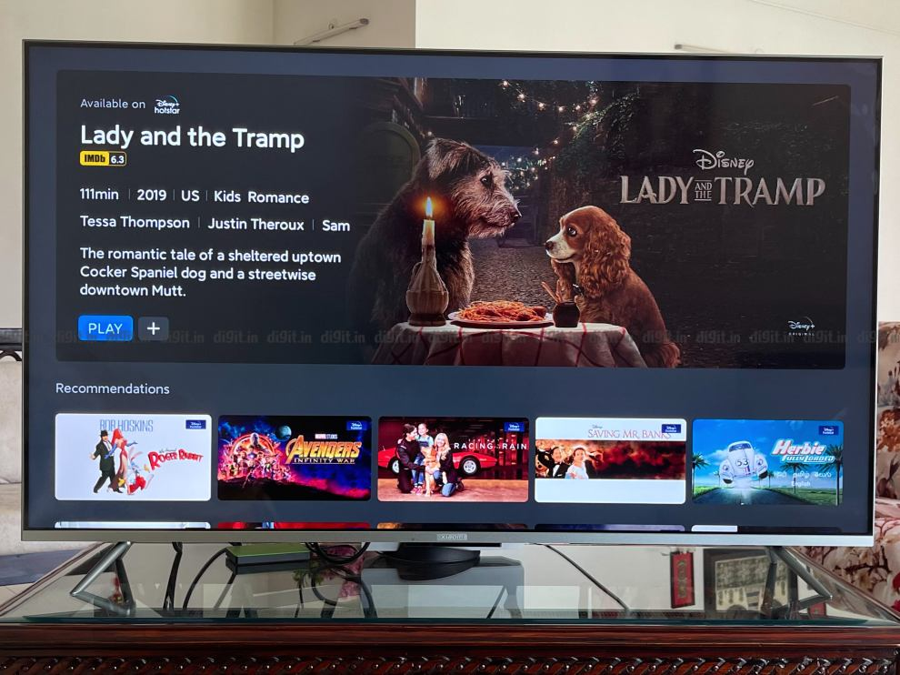 The Mi TV 5X shows IMDB ratings in the patchwall UI.