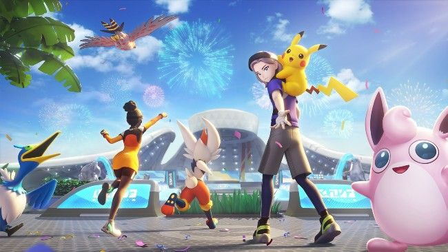 How do you share your saved data to Pokemon Unite on your smartphone?