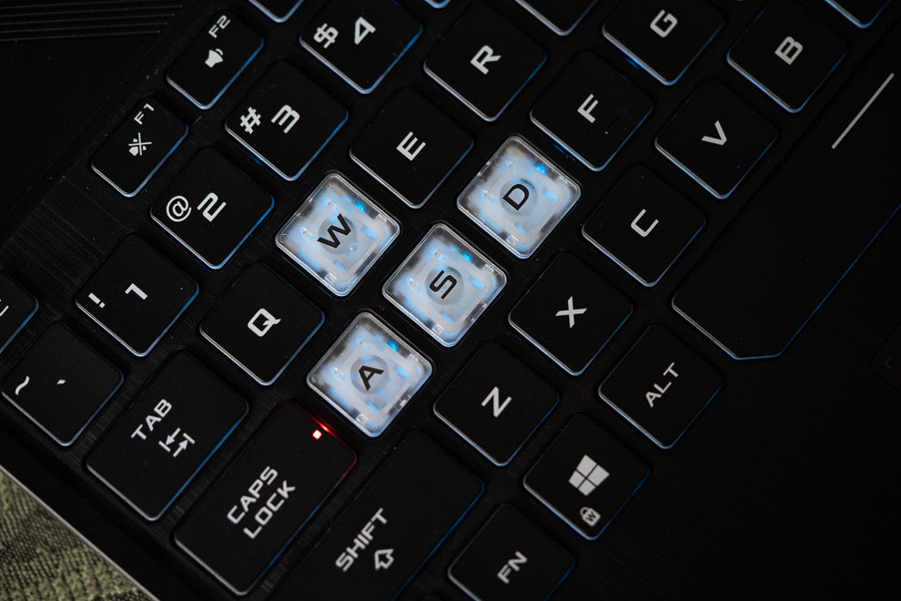 The Asus TUF Gaming A15's k eyboard offers 1.8mm of travel and single-zone RGB lighting.