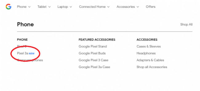 Google Pixel 3a spotted on Google Store