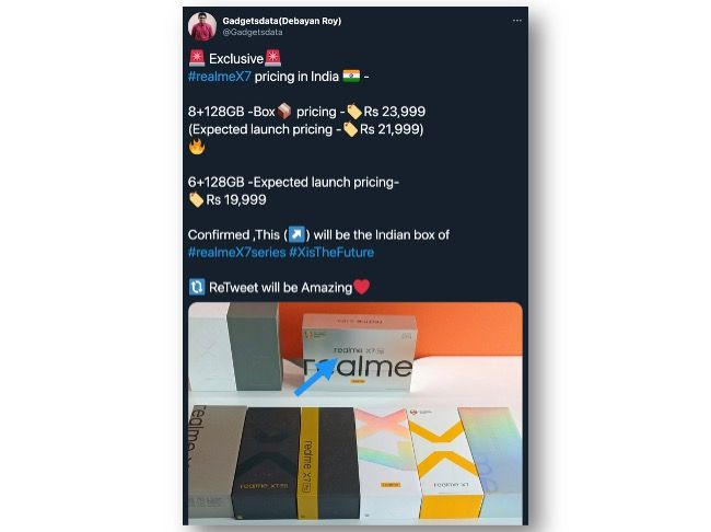 Realme X7 Pricing leaked