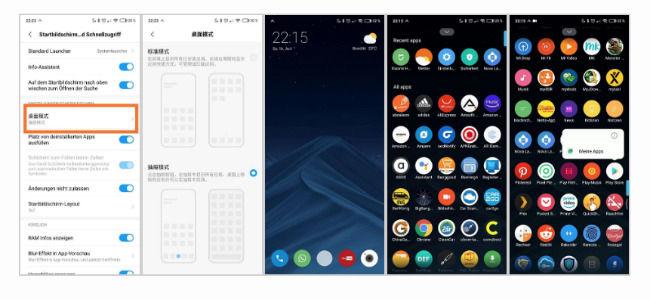 MIUI Launcher app drawer screenshots