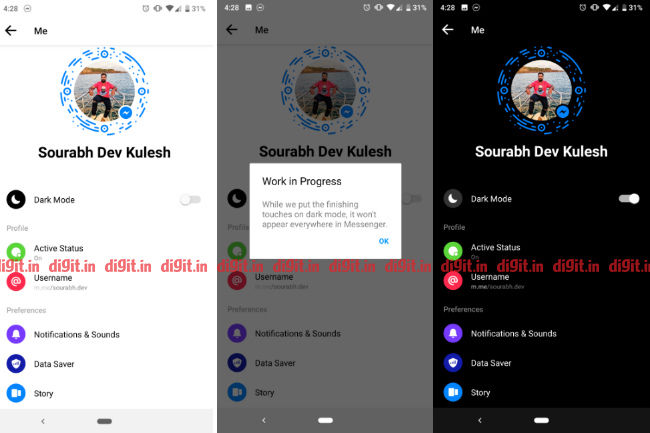 You can enable Dark Mode in Facebook Messenger by sending