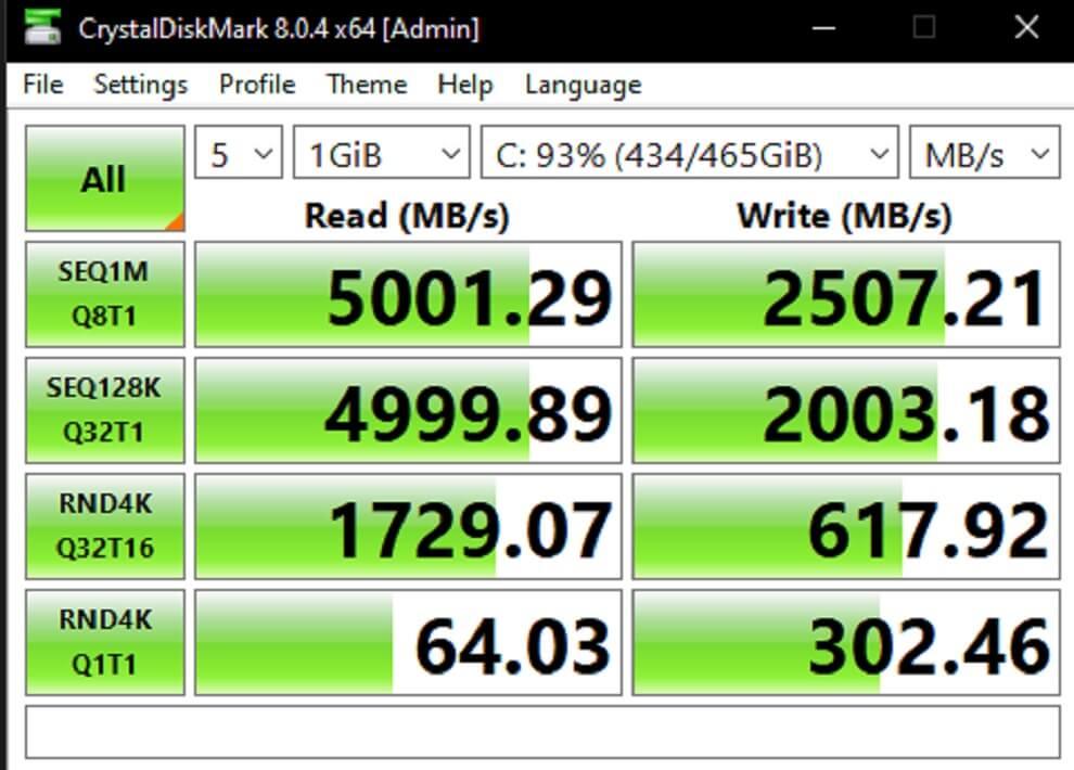 Intel NUC 11 Extreme Kit CrystalDiskMark Result