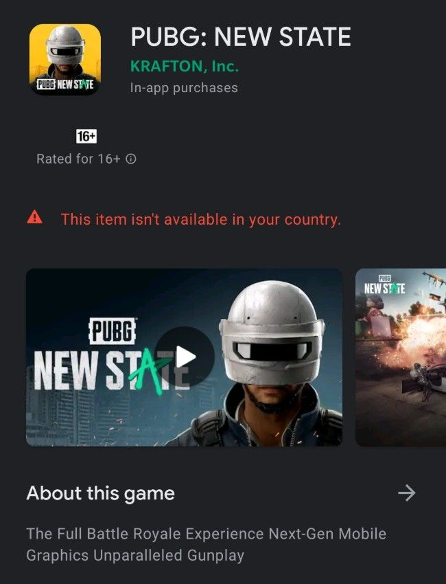 PUBG New State is not available in India yet