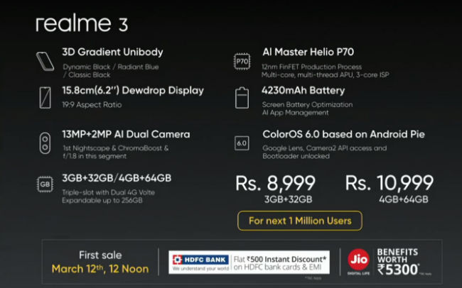 Realme 3 with MediaTek Helio P70, 4230mAh battery launched in India