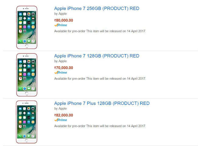 The IPhone 7 PRODUCT Red Is Priced At Rs 70000 And 80000 For 128GB 256GB Storage Variant Respectively